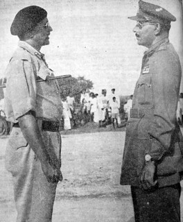 Major General El Edroos (at right) offers his surrender of the Hyderabad State Forces to Major General (later General and Army Chief) Joyanto Nath Chaudhuri at Secunderabad