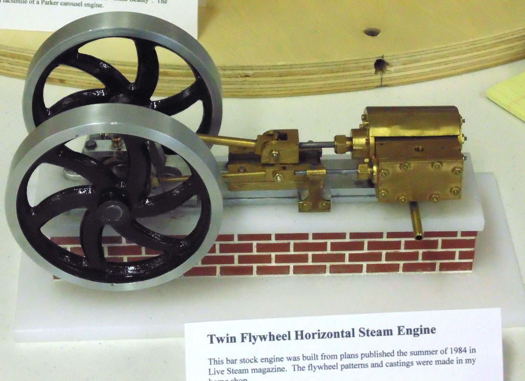 ... Twin Flywheel Steam Engine, 1984 Plans, Live Steam Magazine, homemade casting in his