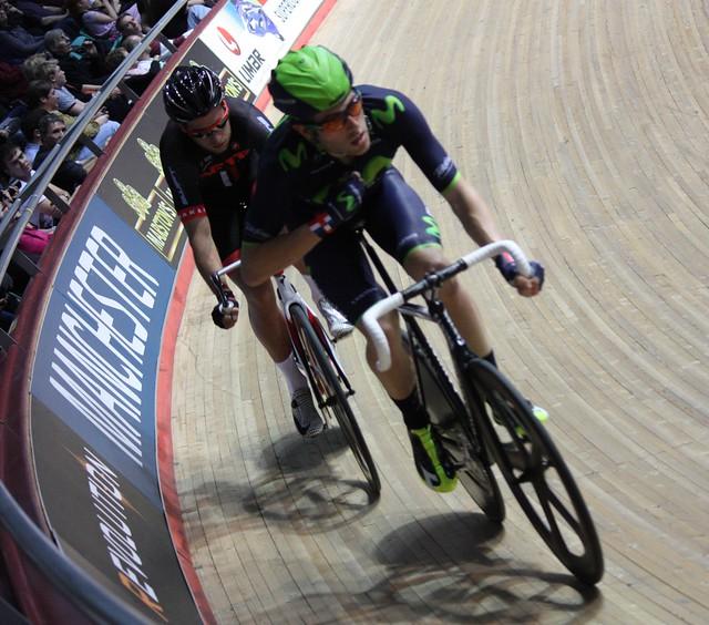 Alex Dowsett (Movistar) leads Adam Blythe (NFTO Cycling)