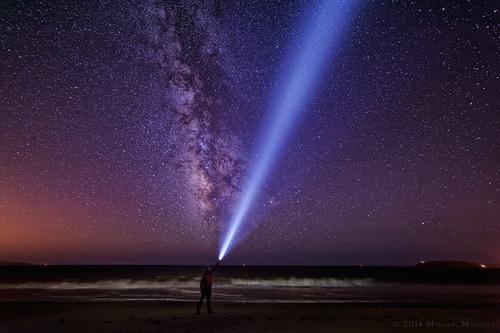 ocean california light sky selfportrait beach nature night skyscape stars landscape nikon nightscape pacific spotlight astrophotography flashlight searchlight astronomy milkyway selfie 2014 ea4 starrysky d700 nitecore michaelmenefee