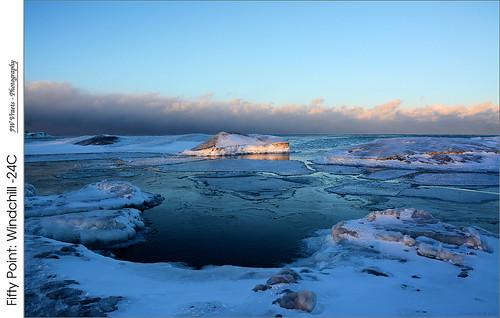 winter sunset nikon hamilton gimp lakeontario opensource grimsby windchill d7100 fiftypoint shoreice nikkor18105mmvr darktable