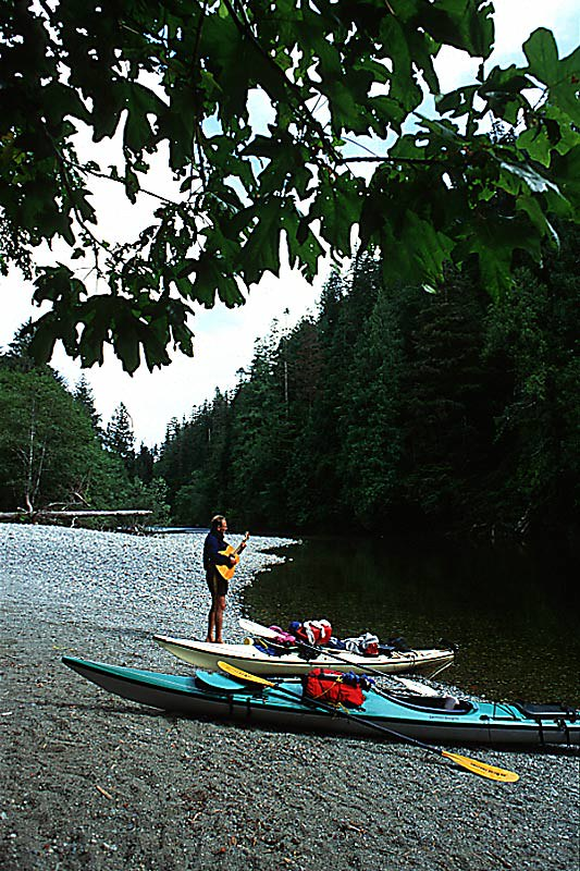 Kayakers on Megin River, Strathcona Provincial Park, Central Vancouver Island, British Columbia, Canada