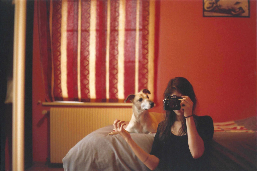 Self and dog. Fujicolor Superia 200