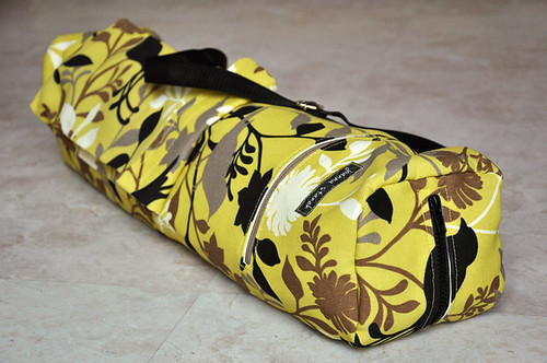 Yellow, Black, Ivory, and Tan Bird and Floral Patterned Yoga Mat Bag | by joannastanek