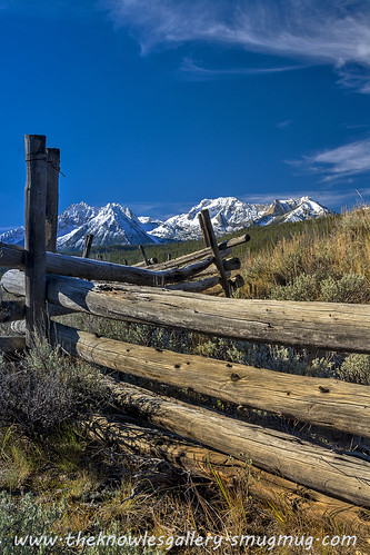 Sawtooth fence Mountains and fence | by Knowles Gallery