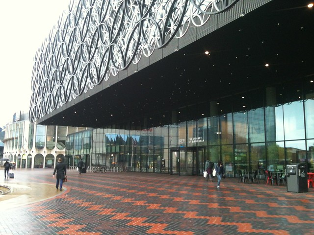 Outside the new Library of Birmingham