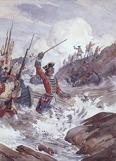 Wolfe wading ashore through the surf at Louisbourg / Wolfe débarquant, à travers les vagues, sur la rive à Louisbourg