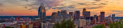 trees windows sunset sky panorama skyline clouds buildings dusk stadium cincinnati flag pano panoramic reds hdr highdynamicrange carew usbank greatamerican proctorgamble fifththirdbank firstfinancial