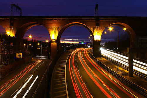 lighting uk longexposure nightphotography sunset red england sky sun white lightpainting motion cars night clouds speed train canon dark manchester lights moving movement exposure colours darkness traffic bright unitedkingdom fast viaduct stockport timetravel nightlife colourful speeding lightstream flickrfriday lightphotography 1100d