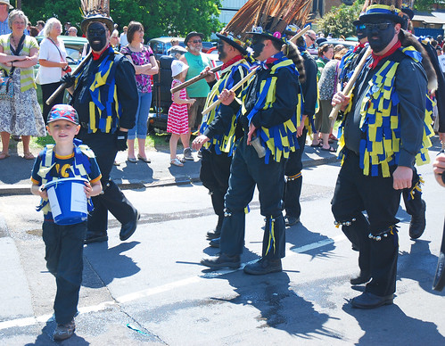 My William (aka 'Morris Minor') Collecting for the Phyllis Tuckwell Hospice with Daddy and the other Hook Eagles Morris Men in the Hartley Wintney Festival Procession