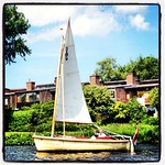 Cruising upriver with little wind on the Zijlsloep