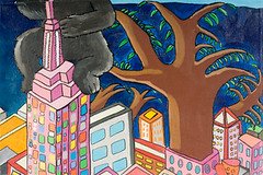 "Empire State Building and Big Tree (16"" x 24"" acrylic on canvas)"