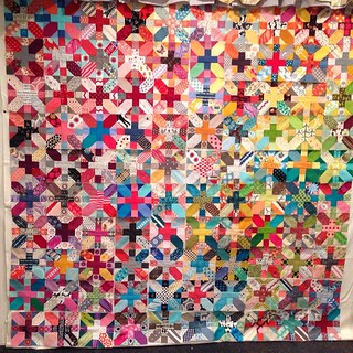 100 #xplusalong blocks with only five extra (turns out I can't count). Probably gonna keep tweaking the placement, but I'm moving on for now. #quiltretreat2014