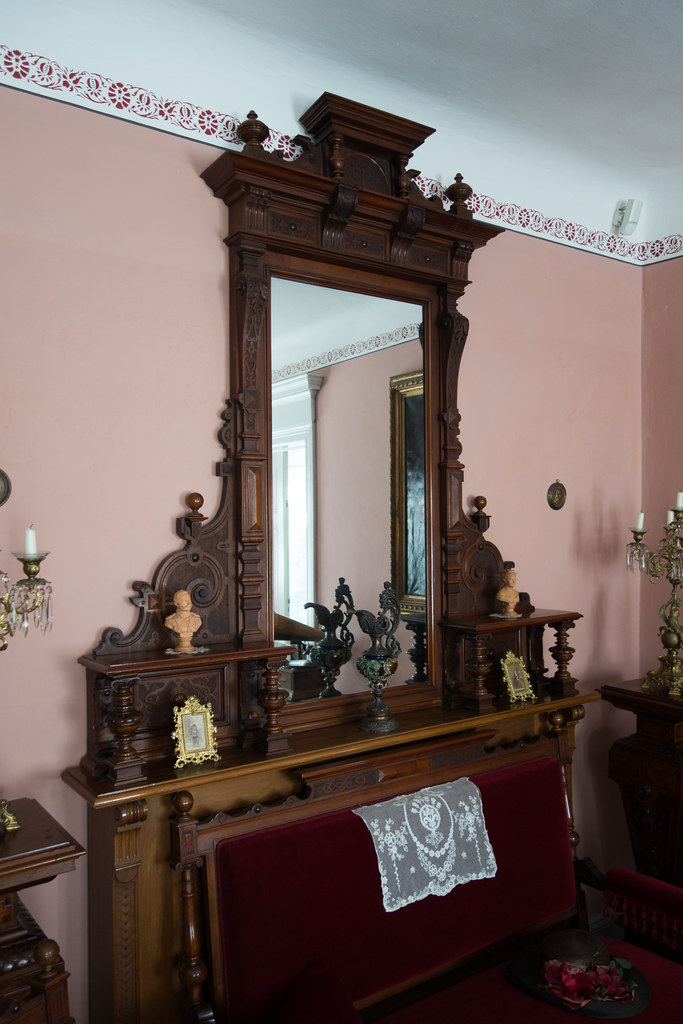 Antique mirror with fine woodworking