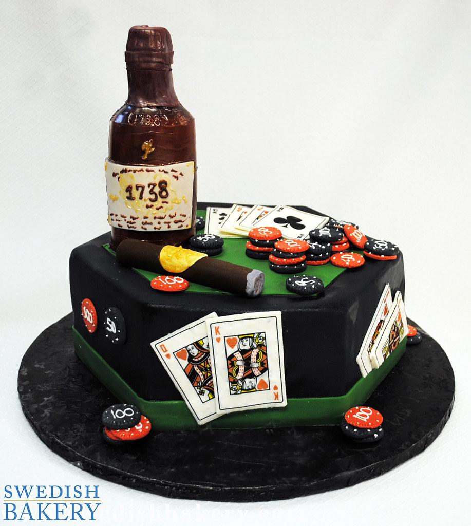 Poker Table with Cigar & Cognac Bottle Birthday Cake | Flickr