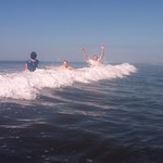 Playing in the waves