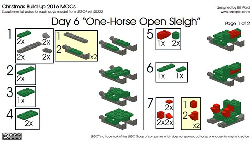 Day  6 One Horse Open Sleigh Instr 1 of 2 | by Bill Ward's Brickpile