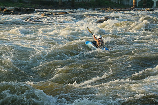 Chattahoochee River, Eagle and Phenix Dam Rapid, from The Island, downtown, Columbus, Columbus-Muscogee County, Georgia, unknown kayaker 1 | by Alan Cressler