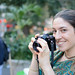 Hare Krishna girl photographer at Union Square Park by MichaelJagendorf