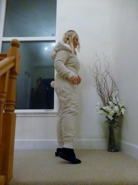 Laine wearing her onesie