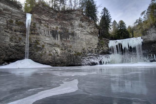 Rockhouse Falls and Cane Creek Falls frozen 1, Fall Creek Falls State Park, Van Buren County, Tennessee