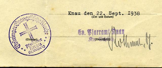 Siegel: Thüringer Evangelische Kirche, Pfarramt Knau 1938