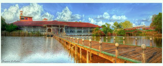 Bridge to Abandoned Chinese Tea House