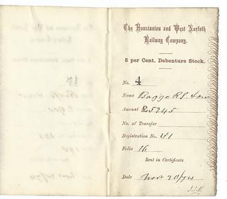 Hunstanton and West Norfolk Railway Stock receipt 1874 | by ian.dinmore