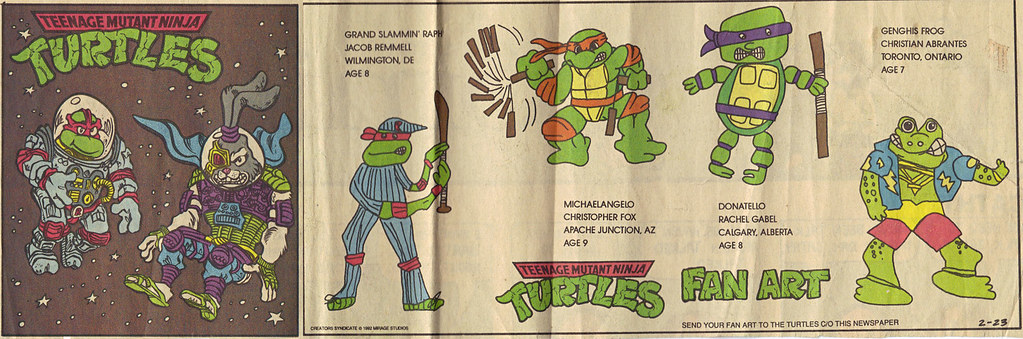 TEENAGE MUTANT NINJA TURTLES { newspaper strip } ..Raph, the Space Cadet + SPACE USAGI ; ..art by Lawson  :: 02231992 by tOkKa
