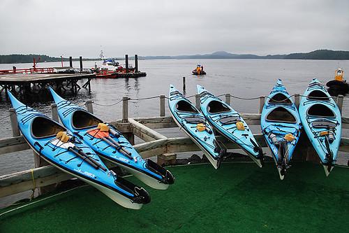 Kayaks at Meares Landing, Tofino, Vancouver Island, British Columbia