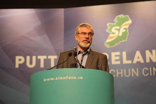 Gerry Adams rehearses Presidential Address