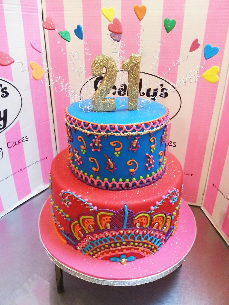 Terrific 2 Tier Fondant Covered 21St Birthday Cake With Piped Mehnd Flickr Funny Birthday Cards Online Alyptdamsfinfo