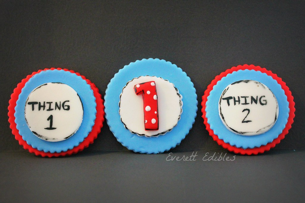 Surprising Dr Seuss 1St Birthday Cupcake Toppers Thing 1 Thing 2 7 Flickr Personalised Birthday Cards Epsylily Jamesorg