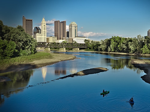 railroad bridge blue columbus ohio summer usa brown green architecture sunrise canon river eos downtown day cityscape afternoon unitedstatesofamerica kayaking oh paddling canoneos lanscape 70d rialroadtrack canoneos70d