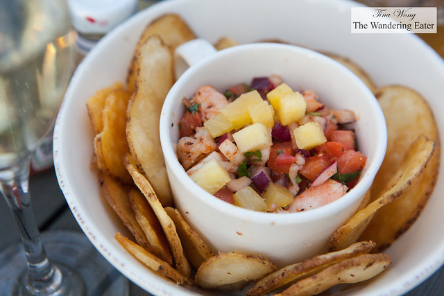 Shrimp ceviche with pineapple served with house made potato chips