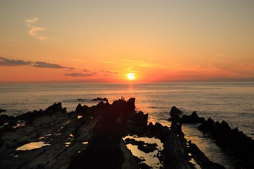seashore sunset sunlight