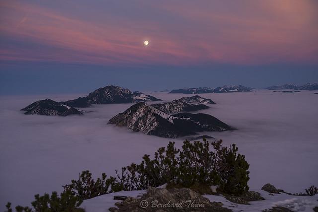 Full moon over Jochberg and Benediktenwand