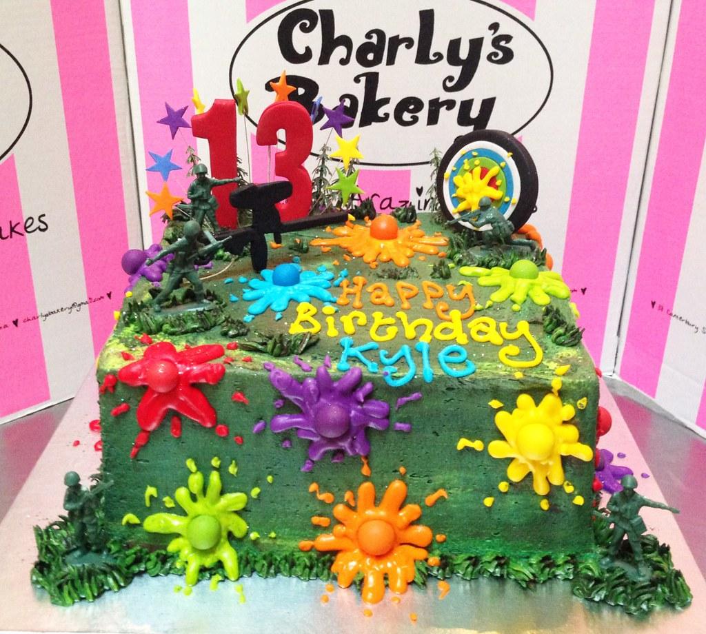 Amazing Paintball Themed Birthday Cake Charlys Bakery Flickr Birthday Cards Printable Giouspongecafe Filternl