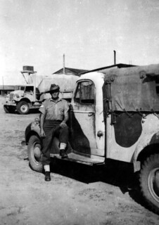 Dec 1942 - 2/4 AMCU Bill Angwin with Tom's truck at KILO 89 camp (Palestine)