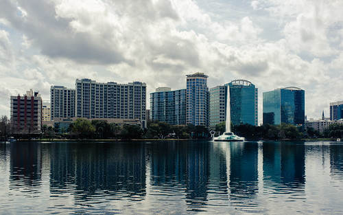 street water fountain skyline landscape orlando downtown day cityscape cloudy sunny fujifilm backlit lakeeola 2014 thorntonpark x100 fav10 project365 lakeeolapark day54