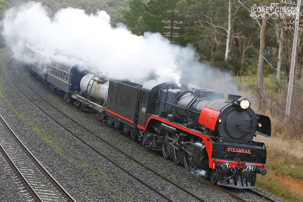 Steamrail R761 Echuca Trip heads out of Broadford by Corey Gibson