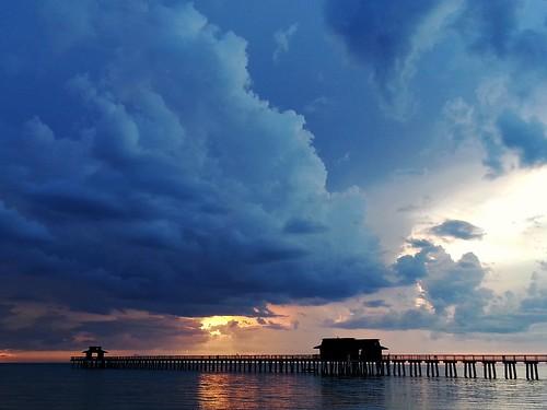 sunset sea seascape beach gulfofmexico water clouds america pier sundown florida dusk samsung naplespier kendowdall