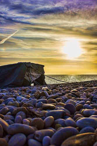 sunset beach dorset hdr chesil topaz