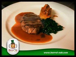 Barrel-oak-Grilled-Rump-steak,-smoked-ratatouille,-potato-dauphinoise-wilted-spinach-and-red-wine-sauce