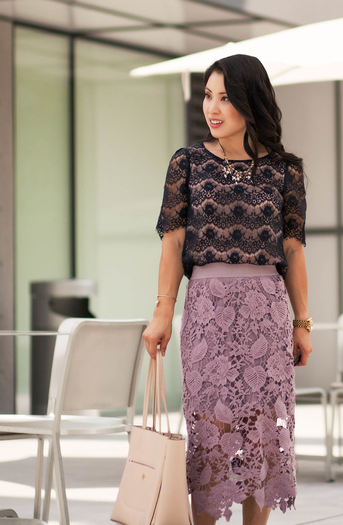 299098d1a1 ... cute & little blog | petite fashion | navy lace top, lavender purple  crochet midi