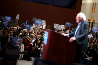 Bernie Sanders with supporters | by Gage Skidmore