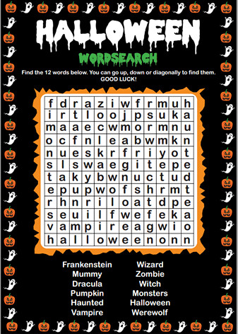 promo code shop on feet images of Halloween Wordsearch (Medium Difficulty) | Attribution link ...