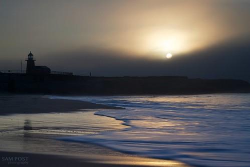 california santa light sun lighthouse texture fog sunrise gold waves mood cruz lane steamer