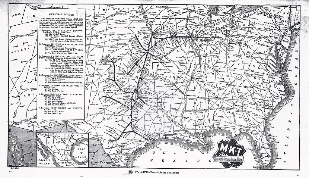 Map Of Texas Katy.System Map M K T Katy Railroad Missouri Kansas Texas 1 Flickr
