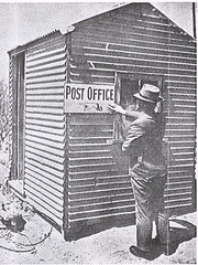 Calomba temporary Post Office erected after the fire on 22nd January 1948